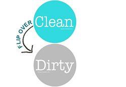 2″ Double Sided Round Dishwasher Flip CLEAN & DIRTY Premium 50 mil Dishwasher Magnet ( ...