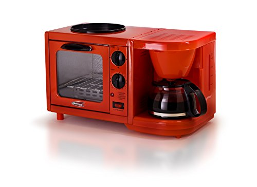 Elite Cuisine EBK-200R Maxi-Matic 3-in-1 Multifunction Breakfast Center, Red