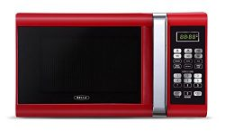 Bella 900-Watt Microwave Oven, 0.9 Cubic Feet, Red with Chrome
