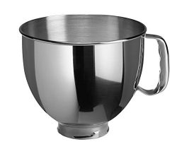 KitchenAid K5THSBP Tilt-Head Mixer Bowl with Handle, Polished Stainless Steel, Polished Stainles ...