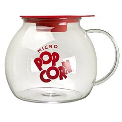 Ecolution Micro-Pop Popcorn Popper, 3 QT Capacity | Glass Microwave Popcorn Maker w/ Dual Functi ...