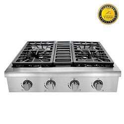 Kitchen & Life Pro-Style Gas Rangetop with 4 Cooktop, Seale Performance Burners with Iron Gr ...
