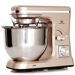 MURENKING Stand Mixer MK36 500W 5-Qt 6-Speed Tilt-Head Kitchen Food Mixer with Accessories (Cham ...