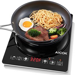 Aicok Portable Induction Cooktop, Countertop Burner with Timer, 15 Power Levels, 15 Preset Tempe ...