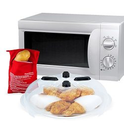 MaMix Hover Cover – Magnetic Microwave Splatter Lid with Steam Vents 11.5 Inch + Microwave ...