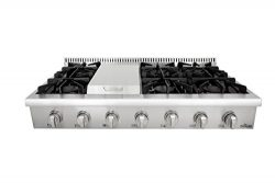 Thorkitchen HRT4806U Gas Rangetop with 6 Sealed Burners with Iron Grates, Metal Knobs with LED l ...