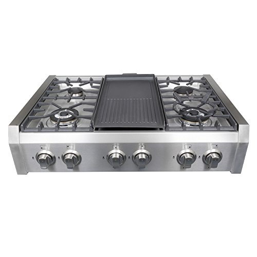 cosmo professional style slidein gas cooktop in stainless