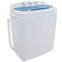 ROVSUN Portable Washing Machine with Twin Tub Electric Compact Washer, 13Lbs Large Capacity Ener ...