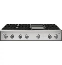 GE Cafe CGU486SDLSS 48 Inch Natural Gas Rangetop with Griddle, 6 Sealed Burners, in Stainless Steel