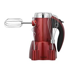 VonShef 250W 6 Speed Hand Mixer with Stand and 5 Accessories Includes 2 Dough Hooks, 2 Beaters & ...