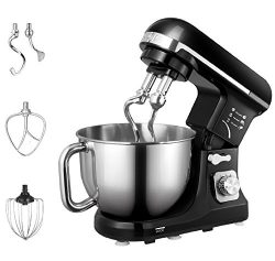 Aicok Stand Mixer, Food Mixer, Kitchen Electric Mixer with Double Dough Hook, Whisk, Beater, Spl ...