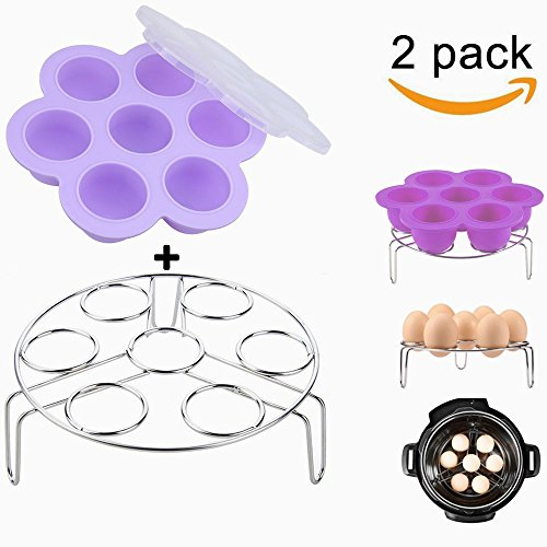 Purple Silicone Egg Bites Molds With Stainless Steel Egg