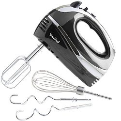 VonShef BLACK 250W Hand Mixer Whisk With Chrome Beater, Dough Hook, 5 Speed and Turbo Button + F ...