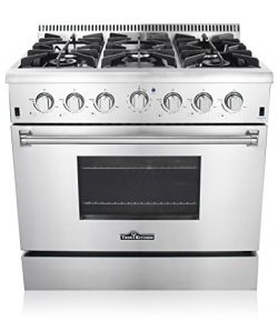 Thor Kitchen 36″ Freestanding Professional Style Gas Range with 5.2 Cu. Ft. Oven, 6 Burner ...