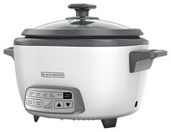 BLACK+DECKER 14-Cup Digital Rice Cooker and Steamer, White, RCD514