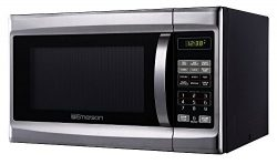 Emerson 1.3 CU. FT. 1000 Watt, Touch Control, Stainless Steel Front, Black Cabinet Microwave Ove ...