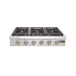 Kucht KRT3618U 36″ Professional Series Gas Range-Top with 6 Sealed Burners Black Porcelain ...