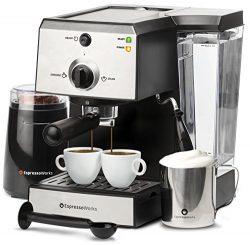 7 Pc All-In-One Espresso/Cappuccino Machine Bundle Set- (Includes: Electric Coffee Bean Grinder, ...