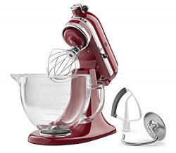 KitchenAid KSM105GBCER 5-Qt. Tilt-Head Stand Mixer with Glass Bowl and Flex Edge Beater –  ...