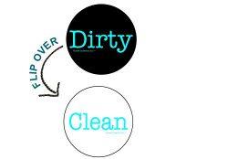 2″ Double Sided Round Dishwasher Flip CLEAN & DIRTY Premium 50 mil Dishwasher Magnet.  ...