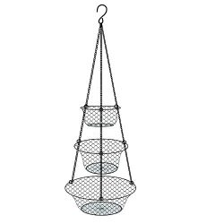 Tai-ying 3 Tier Wire hanging fruit baskets,Vegetable or Fruit hanging basket Kitchen Storage Ha ...