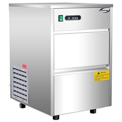 Costway Stainless Steel Commercial Automatic Ice Maker Portable Freestanding Ice Machine, 58LB/24h