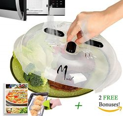 Hover Cover Magnetic Microwave Splatter Guard Lid with Steam Vents 11.5″ + Heat Resistant  ...