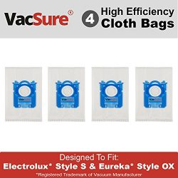 Electrolux Hepa S-Bag for Harmony/Oxygen Canister Vacuum, By VacSure (4 Bags)