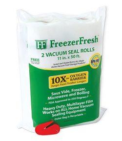 2 Pack – Freezer Fresh 11″ x 50′ Commercial Grade Vacuum Sealer Rolls. Food Storage  ...