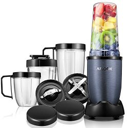 Aicook Blender,15-Piece Smoothie Blender,Personal Blender,High Speed Blender for Smoothies and S ...
