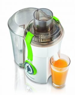 Hamilton Beach 67602A Big Mouth 800 Watt Juice Extractor, White and Green, Extra Large 3 Inch Fe ...