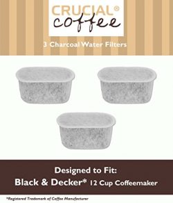 3 Black & Decker Charcoal Water Filters Fit 12 Cup Coffee Machines