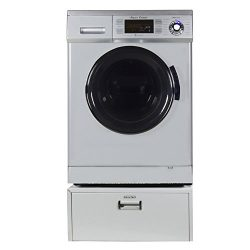 """Equator Super Combo Washer-Dryer EZ 4400 11 """" High Pedestal with Storage drawer, in Silver"""