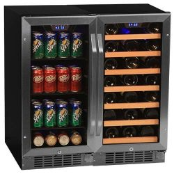 Edgestar CWBV8030 30 Bottle + 80 Can Side-by-Side 30″ Wide Wine & Beverage Center