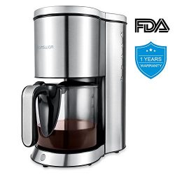 Coffee Maker, HAMSWAN AD-103 Drip Coffee Machine Anti-Drip Device Auto-Thermal 10-Cup Carafe for ...