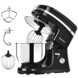 Costway Tilt-head Stand Mixer 5.3Qt 6-Speed 120V/800W Electric Food Mixer with Mixer Blade, Doug ...