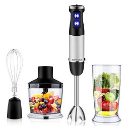 DIYOO Powerful Hand Blender 500W 4-in-1 Immersion Hand Blender Set – Variable 6 Speed Cont ...
