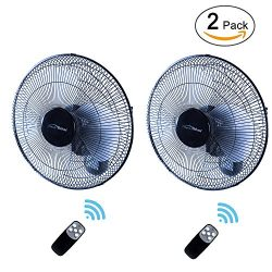 iPower HIFANXWALLDIGITX2 2-Pack Heavy Duty Quiet 16-Inch Digital Wall Mount Oscillating Fan with ...