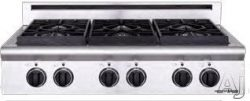 American Range Legend Series 36 Inch Pro-Style Gas Rangetop with 4 Sealed Burners, 11 Inch Gridd ...