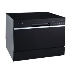 EdgeStar DWP62BL 6 Place Setting Energy Star Rated Portable Countertop Dishwasher – Black