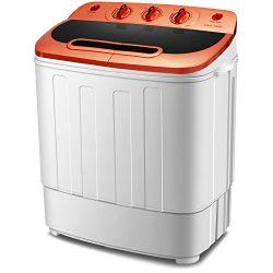 Mini Space Mini Washing Machine Portable Compact Twin Tub 13Ibs Capacity Washing Machine and Spi ...