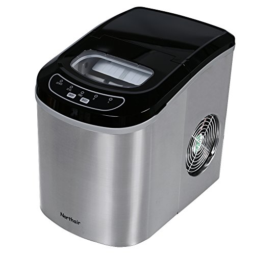 Northair HZB-12/SA Portable Ice Maker Machine Counter Top with 26lbs Daily Capacity Stainless St ...