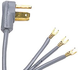 Certified Appliance Accessories 3-Wire Open-Eyelet 30-Amp Dryer Cord, 4ft