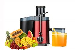Juicer Juice Extractor High Speed for Fruit and Vegetables Premium Food Grade Stainless Steel (red)