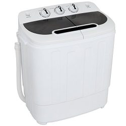 ZENSTYLE Compact Mini Twin Tub Top Load Washing Machine w/Washer Spinner, Built-In Drain Pump, 1 ...