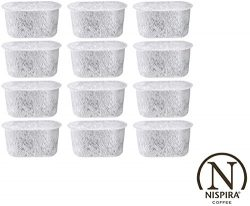 12 NISPIRA Replacement Activated Charcoal Water Filters for Coffee Machines, Compared to Cuisina ...
