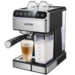 Aicook Automatic Espresso Machine,15 BAR Pump Barista Expresso Coffee Maker with One Touch Digit ...