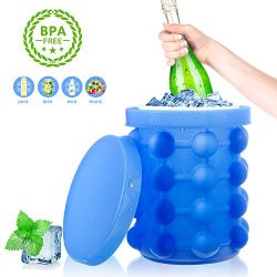 Tonha Space Saving Round Ice Cube Maker and Ice Bucket | Revolutionary System Saves Freezer Spac ...