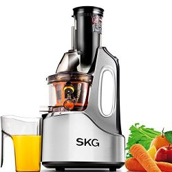 SKG Wide Chute Anti-Oxidation Slow Masticating Juicer (240W AC Motor, 60 RPMs, 4″ Big Mout ...