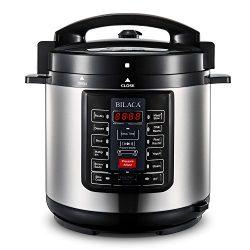 BILACA Programmable Pressure Cooker 6 Quart 1000W 9-in-1 Multi-Use Electric Pressure Cooker, Ric ...